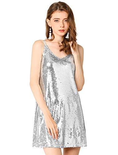Allegra K Damen Ärmellos V Neck Metallisch Pailletten Trägerkleid Kleid Silber L