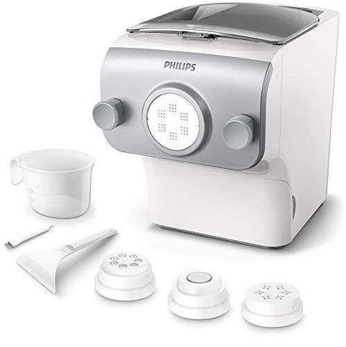 Philips HR2375/05 – Fresh Pasta Maker, 4 Varieties, with Cleaning Accessory, Measuring Cup and Recipe Book, 200 W
