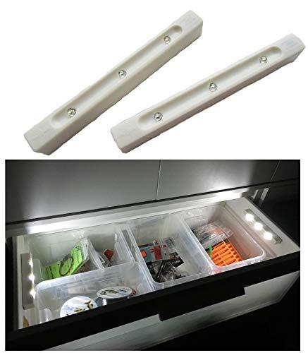 SmartLichtPro 2er Pack LED Schubladenlicht Selbstklebend mit Vibrations-Sensor – Licht ab - beim Öffnen von Schubladen Kästen & Schränken inkl. 2X Zusatz-Klebe Pads
