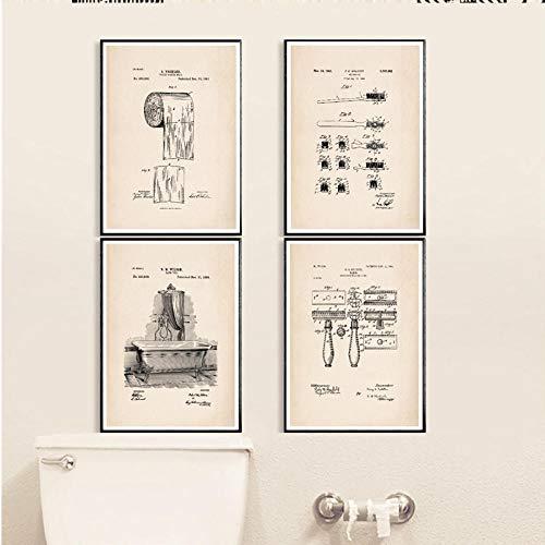 DLFALG Badkamer Patent Vintage Poster en afdrukken toiletpapier rol tandenborstel scheermes badkuip muurkunst canvas schilderij badkamer decoratie - 40x50cmx4 niet ingelijst