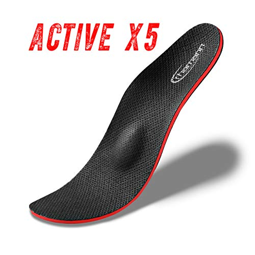 Active X5 neueste Generation Orthopädische Schuheinlagen-Einlegesohlen gegen Knickfuß, Senkfuß, Plattfuß, Spreizfuß, metatarsalgie, Fußschmerzen und Fußfehlstellung. Verhindert Schweißfuß. (39)