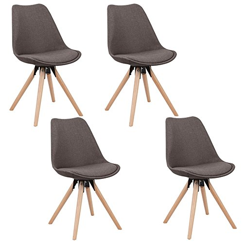 MCTECH® 4er Set Esszimmerstühle Besucher-Stuhl Esszimmerstuhl Wohnzimmerstuhl Stuhlgruppe Konferenzstühle Bürostuhl Küchenstuhl Büro Sofas (Grau)