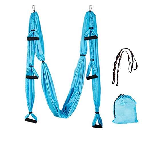 Hamaca De Yoga Aérea Antigravedad, Adecuada Para Hamaca De Yoga De Nylon Para Adultos Microelástica De Interior De 2,5 M * 1,5 Cm, Correa De Extensión De Cuerda De Crisantemo, Azul,Azul,250cm*150cm