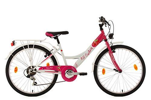 KS Cycling Kinderfahrrad 24'' Cherry Heart 6 Gänge weiß-pink RH36cm