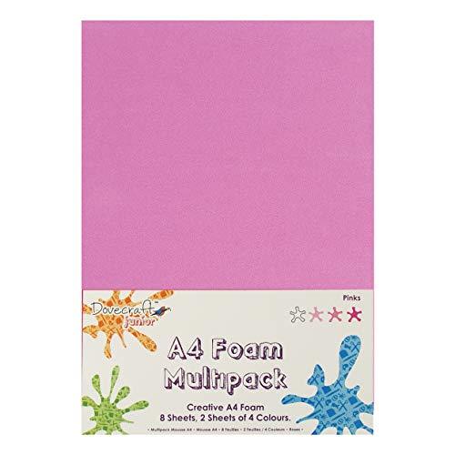 Dovecraft Fogli di Schiuma Lot A4 Lotto 8 (Rosa), Multicolore, Taglie Unica
