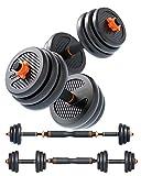 FEIERDUN Free Dumbbells Weights Set Adjustable Barbell Fitness Kettlebells Push Up Stand