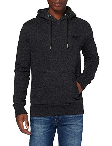 Superdry Mens OL Classic Hood Sweater, Black Snow Heather, Medium