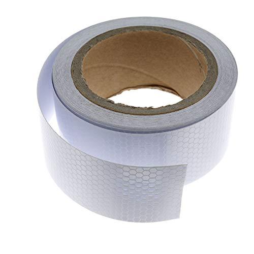ENET - Cinta adhesiva reflectante de seguridad para coche (5 cm x 10 m), color plateado