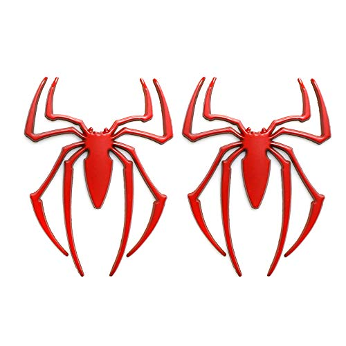 CARRUN 2pcs 3D Spider Emblem Car 3d Logo Metal Chrome Spider Badges Sticker (Red)