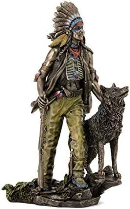 Top Collection Plains Indian Statue Native American with Hunting Companion Sculpture in Cold product image