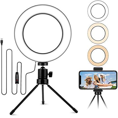 6.2'' Mini Selfie Aro de Luz, Led Luz de Anillo para Tripode con 3 Modos 10 Brillos para Maquillaje/Streaming/Fotografia/Youtube Videos, Soporte Adicional para Teléfono Compatible con iPhone/Android