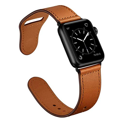 SENDORFF Aviator Lederarmband für Apple Watch Lederloop Leder Series 1/2/3/5/6/SE Applewatch5 Applewatch6 Iwatch Ersatzarmband 42mm 44mm (Series 4-6/SE), Classic Brown