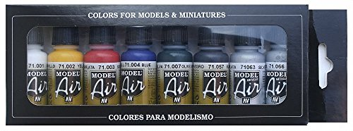 Colores Vallejo Model Air básicos para Air Brush - Surtido de Colores (paquete de 8)