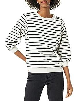 Amazon Essentials Sweat-Shirt à col Rond avec Manches en Tissu éponge, Rayures Blanches et Noires, XL