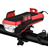 Hongtianyuan Luz Bicicleta,Recargable USB LED Luz Bicicleta,Impermeable 4 in 1Luz Bicicleta Delantera, con Soporte para Teléfono,Cuerno,Banco de energía,4000mAh.(Rojo)