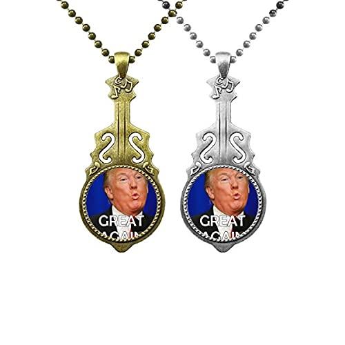 Unterstützen Sie den amerikanischen Präsidenten Trump Image Liebhaber Musik Gitarre Anhänger Schmuck Halskette Anhänger
