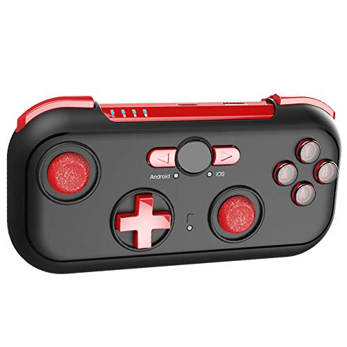 Juego Joysticks Inalambrico Por Blueetooth, Mobile Gaming Mando, Controlador Inalámbrico Gamepad, 2.4G Juego Joysticks, Joystick Para Compatible Ios Android Teléfono Móvil PC TV,Rojo