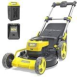 PowerSmart Lawn Mower Electric, 80V 6.0Ah Battery, 21 Inch Cordless Push Lawn...