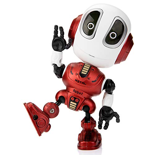 Sopu Talking Robot Toys Repeats What You Say Kids Robot Toy Metal Mini Body Robot with Repeats Your Voice, Colorful Flashing Lights and Cool Sounds Robot Interactive Toy for Boys and Girls Gift (Red)