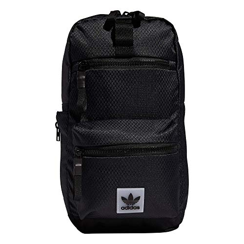 adidas Originals Utility Crossbody Sling Bag with Water Bottle Sleeve, Black, One Size