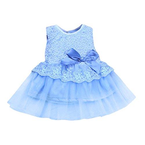 Baby Kleid Blume Baby Mädchen Prinzessin Kleid Brautjungfer Pageant Kleid Geburtstag Party Brautkleid Xinantime (0-3Monat, Blau)