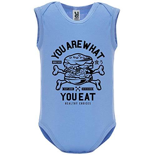 LookMyKase Body bébé - Manche sans - You are What You Eat - Bébé Garçon - Bleu - 12MOIS