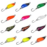 Fishing Spoon Lure Set, Hard Baits Tackle Single Hook Metal Fishing Lures Spoon for Trout Char Bass Perch Tackle Box...