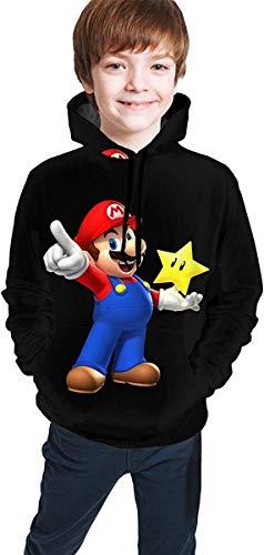 Meethee Sudadera Juvenil con Capucha Super Mario Bros Games Teen Long Sleeve Hooded Sweatshirt for Boys and Girls