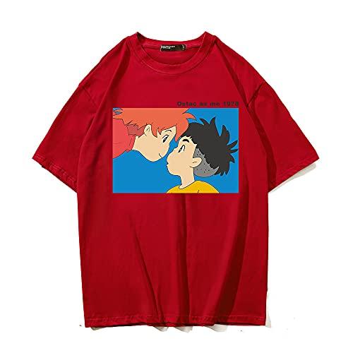 SHIQI-DYMX Ponyo On The Cliff Camisetas con Estampado Gráfico De Anime Harajuku Mujeres Hombres Camiseta Divertida Vintage Tops Camisetas Unisex,XXXL