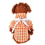 AMURAO Verano Camisa del Perro del Animal doméstico Pajarita Ropa de la Muchacha de la Tela Escocesa Yorkshire Terrier Manga Corta Raya del Gato Trajes de la Rejilla