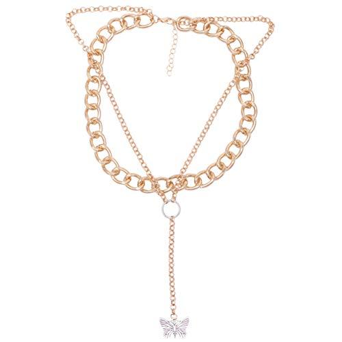Happyyami Collar de Mariposa Collar de Metal Colgante de Cuello Cadena de Clavícula Joyería de Cuello Decoración de Cuello para Mujeres Y Damas