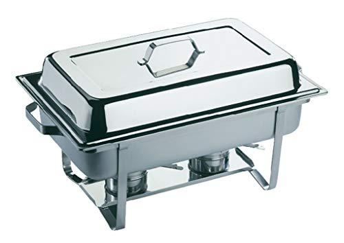 APS 11680 Chafing Dish -ECONOMIC-, 61 x 36 cm, H: 30 cm, 9 liter, roestvrij staal, 1 frame, 1 waterbekken 1 eetreservoir GN 1/1-65 mm, 1 deksel, ophangbaar