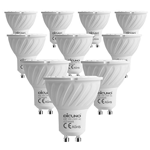 DiCUNO GU10 LED Light Bulb, 60W Halogen Bulbs Equivalent, 6W 600LM, 6000K Daylight White,100V-240V Non-dimmable GU10 Mr16 LED Bulbs, 10-Pack.