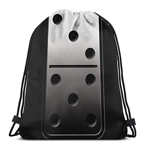 WH-CLA Cinch-Taschen Stahl Domino Frauen Cinch Pack Sporttasche Robustes Fitnessstudio Sack Gedruckt Kordelzug Taschen Einkaufen Anime Sport Männer Drucken Im Freien Kordelzug Rucksack Lä