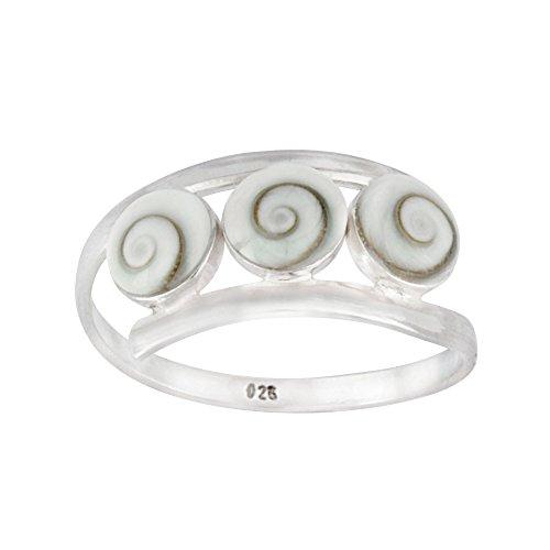 Silverly Frauen .925 Sterling Silber 3 Dreifach Weiß Shiva Eye Schale Spiralförmig Twist kranz