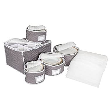 China and Stemware Storage Set Deluxe Microfiber with Braidz Foam Padding - Grey