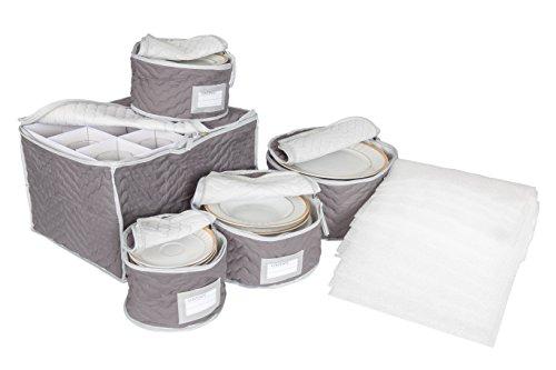 China and Stemware Storage Set Deluxe Microfiber with Braidz Foam Padding - Grey
