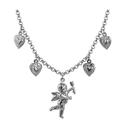 Tiande Angel Cupid Chain Necklace Steel Stainless Angel Baby Wing Love Heart Bell Clavicle Choker Necklace for Women Girls Men Boys