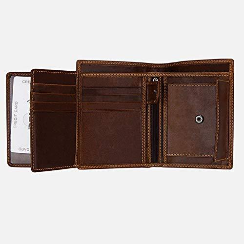Qiy Mens Vintage Wallet, Echt Leer, Multifunctioneel, Duurzaam ID Window Card Case met RFID-blokkering, Portemonnee voor Mannen, Koffie