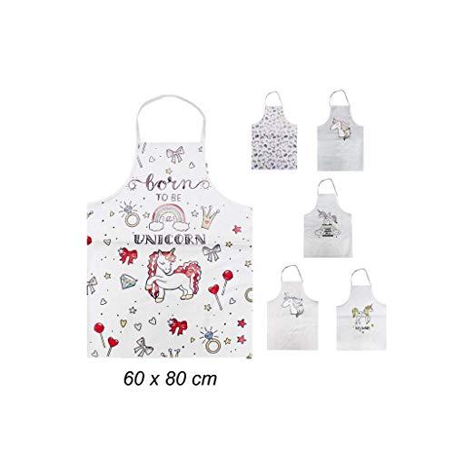 Takestop® Eenhoorn keukenschort, polyester, 60 x 80 cm, halsband voor mannen en vrouwen, waterdicht, verstelbare kledinghoes voor kleding, chef-kok, huis, schilderijen, meisje, casual design