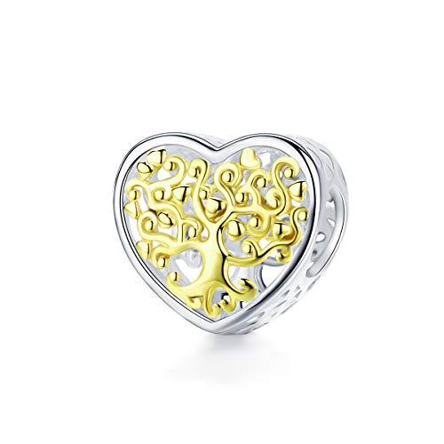 NINGAN Forever Family Charm en Argent Sterling 925 Compatible avec Les Bracelets européens (Tree of Life Family)