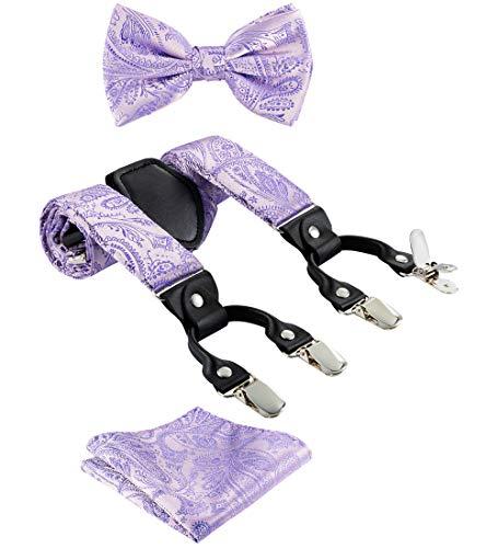 TIE G Paisley Suspender, Bow Tie, Pocket Square Set for Men's Tuxedo Suspenders : Adjustable Braces, Strong Enhanced 6 Clips (A Lavender Paisley)