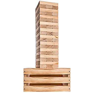 Splinter Woodworking Co Giant Tower Game | 60 Large Blocks with Storage Crate / Outdoor Game Table | Starts at 32in Big | Stacks up to 5ft During Gameplay | Jumbo Set for Family, Kids, and Adults