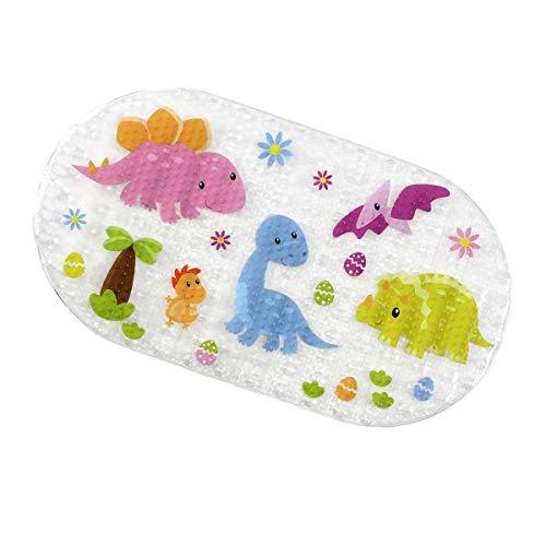 Ruiuzi Cartone Animato Bambini Aspirazione Antiscivolo PVC Tappetino da Bagno Stuoia di Bagno di Sicurezza Cuscinetto Antiscivolo per Vasca da (Dinosaur, 39 x 69 cm)