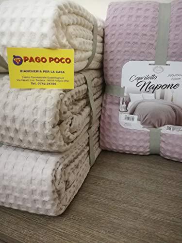 PAGO POCO Tagesdecke, geeignet für alle Jahreszeiten, einfarbig, Farben: Weiß, Beige, Grau, Hellblau, Rosa, 100 % Baumwolle aus Seife.