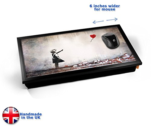 Banksy Heart Balloon Cushioned Bean Bag Laptop Lap Tray Desk - Built-in EMF Shield (Electro Magnetic Field) Kissen Tablett Knietablett Kissentablett - Schwarzer Rahmen