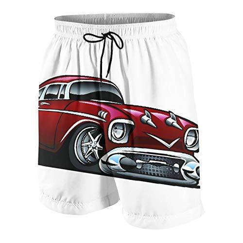 SUHOM De Los Hombres Casual Pantalones Cortos,American Classic Muscle Car Hot Rod Dibujos Animados,Secado Rápido Traje de Baño Playa Ropa de Deporte con Forro de Malla