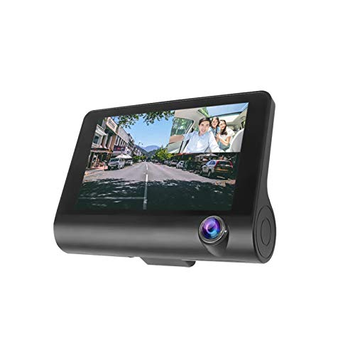 Cámara de Tablero HD 1080P Dual Lens Car DVR 3 Cámaras de 4.0 Pulgadas con Espejo retrovisor Cámara Video Recorder Auto Registrador G Sensores Noche Visor