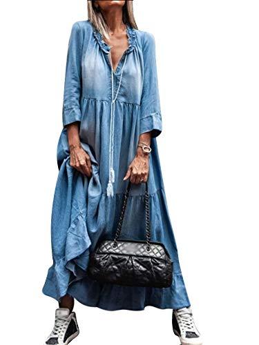 Yesgirl Damska sukienka dżinsowa w stylu boho, sukienka letnia, luźna sukienka dżinsowa z dekoltem w kształcie litery V, długie rękawy, jednokolorowa, plisowana spódnica o linii A, maxi, sukienka denim, tunika, koszula z bluzką
