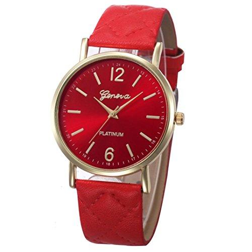 Xinantime Relojes Mujer,Xinan Mujeres PU Banda de Cuero Analógico Cuarzo Reloj Pulsera (Rojo)